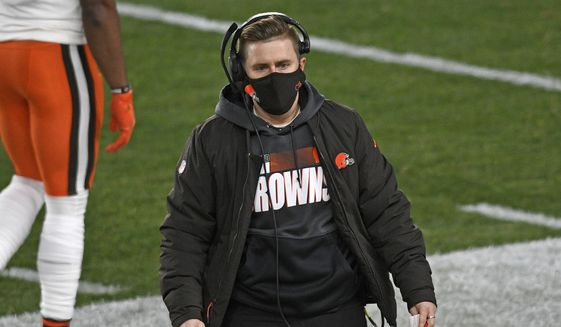 Cleveland Browns coach Callie Brownson walks on the sideline during the first half of an NFL wild-card playoff football game against the Pittsburgh Steelers in Pittsburgh, Sunday, Jan. 10, 2021. (AP Photo/Don Wright) **FILE**