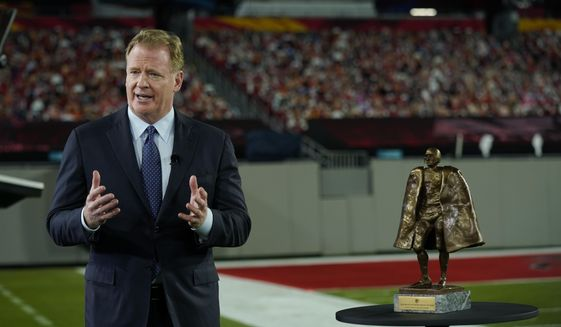 Commissioner Roger Goodell talks about the Walter Payton NFL Man of the Year award during the NFL Honors ceremony as part of Super Bowl 55 Friday, Feb. 5, 2021, in Tampa, Fla. (AP Photo/Charlie Riedel) **FILE**