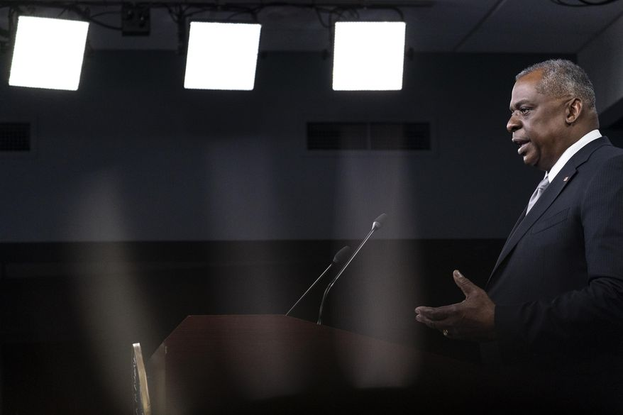 Secretary of Defense Lloyd Austin speaks during a media briefing at the Pentagon, Friday, Feb. 19, 2021, in Washington. (AP Photo/Alex Brandon)