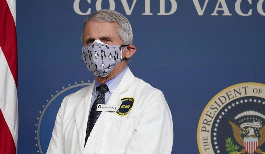 Dr. Anthony Fauci, director of the National Institute of Allergy and Infectious Diseases, listens as President Joe Biden speaks during an event to commemorate the 50 millionth COVID-19 shot, in the South Court Auditorium on the White House campus, Thursday, Feb. 25, 2021, in Washington. (AP Photo/Evan Vucci)