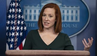 White House press secretary Jen Psaki speaks during a press briefing at the White House, Thursday, Feb. 25, 2021, in Washington. (AP Photo/Evan Vucci)