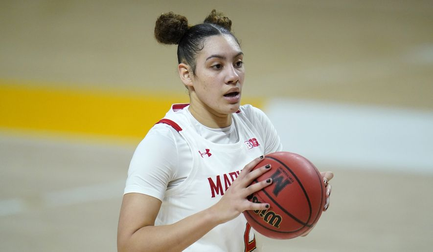 Maryland forward Mimi Collins works the floor against Illinois during the second half of an NCAA college basketball game, Wednesday, Feb. 17, 2021, in College Park, Md. (AP Photo/Julio Cortez) **FILE**