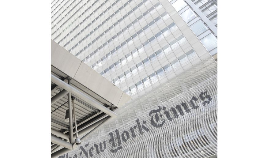 This June 22, 2019, file photo shows the exterior of the New York Times building in New York.  (AP Photo/Julio Cortez, File)  **FILE**