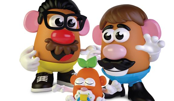 This photo provided by Hasbro shows the new Potato Head world. Hasbro created confusion on Thursday, Feb. 25, 2021, when it removed the gender from its Mr. Potato Head brand, but not from the actual toy. The company, which has been making the potato-shaped plastic toy for nearly 70 years, announced that it was dropping Mr. from the brand in an effort to make sure all feel welcome in the Potato Head world. Hasbro clarified in a tweet that the Mr. and Mrs. Potato Head characters will still exist, names and all, but the branding on the box will say Potato Head. (Hasbro via AP)