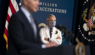 Director of the National Institute of Allergy and Infectious Diseases Dr. Anthony Fauci listens as President Joe Biden speaks during an event to commemorate the 50 millionth COVID-19 shot, in the South Court Auditorium on the White House campus, Thursday, Feb. 25, 2021, in Washington. (AP Photo/Evan Vucci)