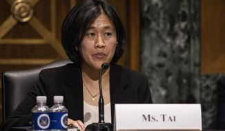 Katherine Tai, nominee for U.S. trade representative, testifies before a Senate Finance Committee hearing on Capitol Hill, in Washington, Thursday, Feb. 25, 2021. (Tasos Katopodis/Pool via AP)