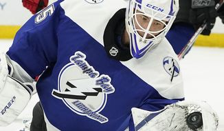 Tampa Bay Lightning goaltender Curtis McElhinney (35) makes a glove save on a shot by the Carolina Hurricanes during the third period of an NHL hockey game Thursday, Feb. 25, 2021, in Tampa, Fla. (AP Photo/Chris O'Meara)