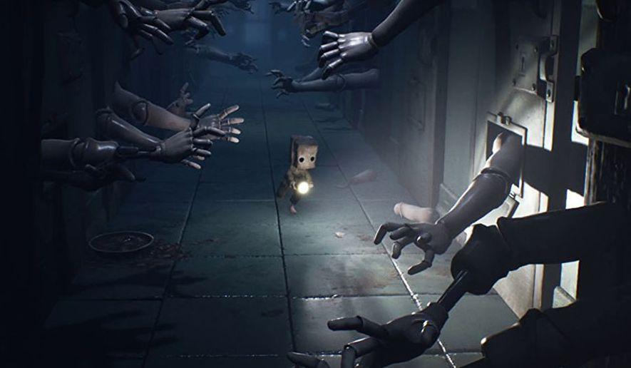 "Mono navigates a terrifying corridor in ""Little Nightmares II"" from Bandai Namco and Tarsier Studios."