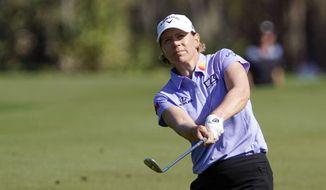Annika Sorenstam chips a shot to the ninth green during the first round of the Gainbridge LPGA golf tournament Thursday, Feb. 25, 2021, in Orlando, Fla. (AP Photo/John Raoux)