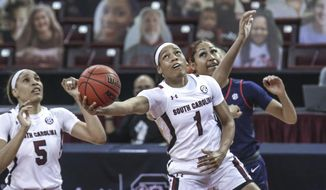 South Carolina guard Zia Cooke (1) shoots against Ole Miss during the first half of an NCAA college basketball game in Columbia, S.C., Thursday, Feb. 25, 2021.  (Tracy Glantz/The State via AP)