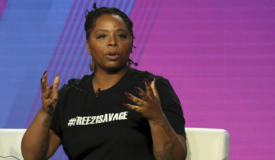 "In this Feb. 11, 2019, file photo, Patrisse Cullors, Black Lives Matter co-founder, participates in the ""Finding Justice"" panel during the BET presentation at the Television Critics Association Winter Press Tour at The Langham Huntington in Pasadena, Calif. The Black Lives Matter Global Network Foundation, which grew out of the creation of the Black Lives Matter movement, is formally expanding a $3 million financial relief fund that it quietly launched in February 2021, to help people struggling to make ends meet during the ongoing coronavirus pandemic. (Photo by Willy Sanjuan/Invision/AP, File)"