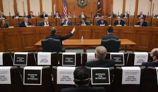 Witnesses testify as the Committees on State Affairs and Energy Resources holds a joint public hearing to consider the factors that led to statewide electrical blackouts, Thursday, Feb. 25, 2021, in Austin, Texas. The hearings were the first in Texas since a blackout that was one of the worst in U.S. history, leaving more than 4 million customers without power and heat in subfreezing temperatures. (AP Photo/Eric Gay)