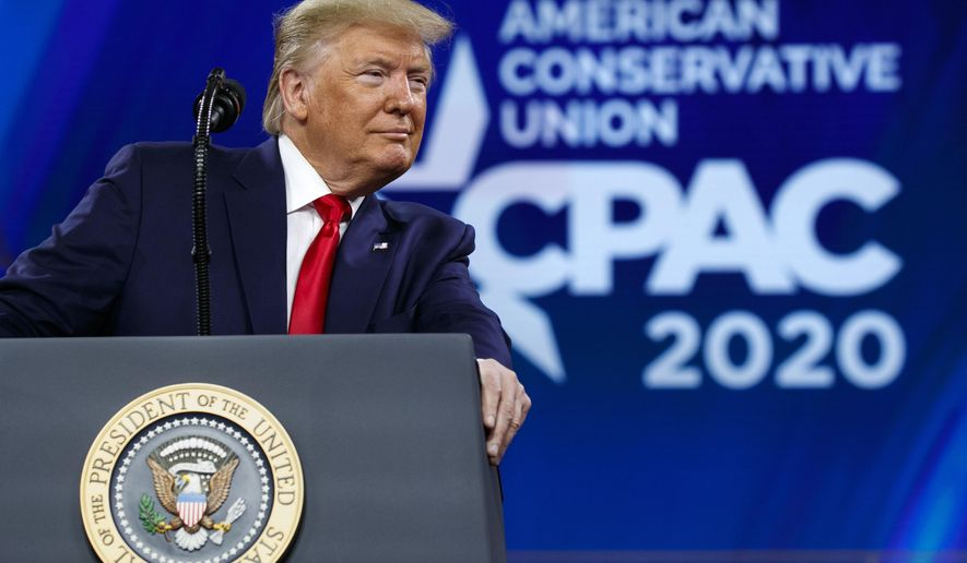 FILE - In this Feb. 29, 2020 file photo, President Donald Trump pauses while speaking at the Conservative Political Action Conference, CPAC 2020, at National Harbor, in Oxon Hill, Md. (AP Photo/Jacquelyn Martin)