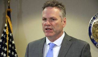 In this March 9, 2020, file photo, Alaska Gov. Mike Dunleavy addresses reporters at a news conference in Anchorage, Alaska. (AP Photo/Mark Thiessen, File)