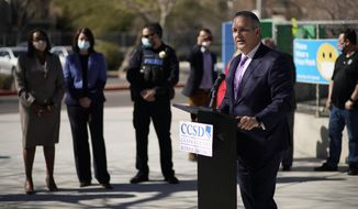 Superintendent Jesus Jara speaks during a news conference at Dean Petersen Elementary School, Wednesday, Feb. 24, 2021, in Las Vegas. School administrators in Las Vegas say they plan a phased return to classrooms in coming weeks for middle- and high school students in the nation's fifth-largest school district. (AP Photo/John Locher)