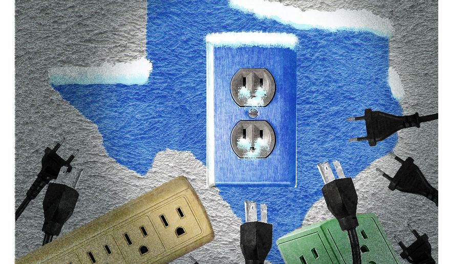 Illustration on the causes of Texas' power shortage by Alexander Hunter/The Washington Times