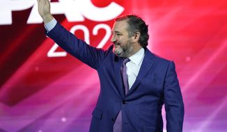 Sen. Ted Cruz, R-Texas waves as he takes the stage at the Conservative Political Action Conference (CPAC) Friday, Feb. 26, 2021, in Orlando, Fla. (AP Photo/John Raoux)
