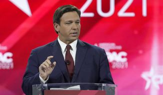 Florida Gov. Ron DeSantis speaks at the Conservative Political Action Conference (CPAC) Friday, Feb. 26, 2021, in Orlando, Fla. (AP Photo/John Raoux)