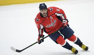 Alex Ovechkin broke a second-period tie and the streaking Washington Capitals welcomed back top goaltender Iyla Samsonov with a 3-2 victory over the skidding New Jersey Devils on Sunday. (AP Photo/Nick Wass)
