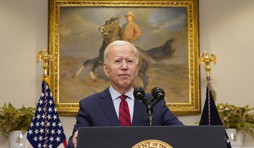 President Joe Biden speaks on the economy in the Roosevelt Room of the White House, Saturday, Feb. 27, 2021, in Washington. (AP Photo/Pablo Martinez Monsivais)