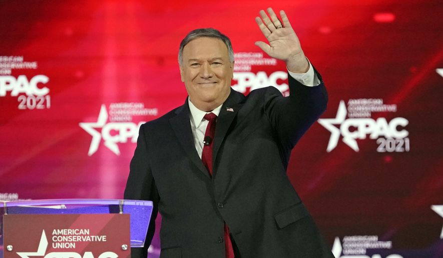 Former Secretary of State Mike Pompeo waves as he is introduced at the Conservative Political Action Conference (CPAC) Saturday, Feb. 27, 2021, in Orlando, Fla. (AP Photo/John Raoux) ** FILE **