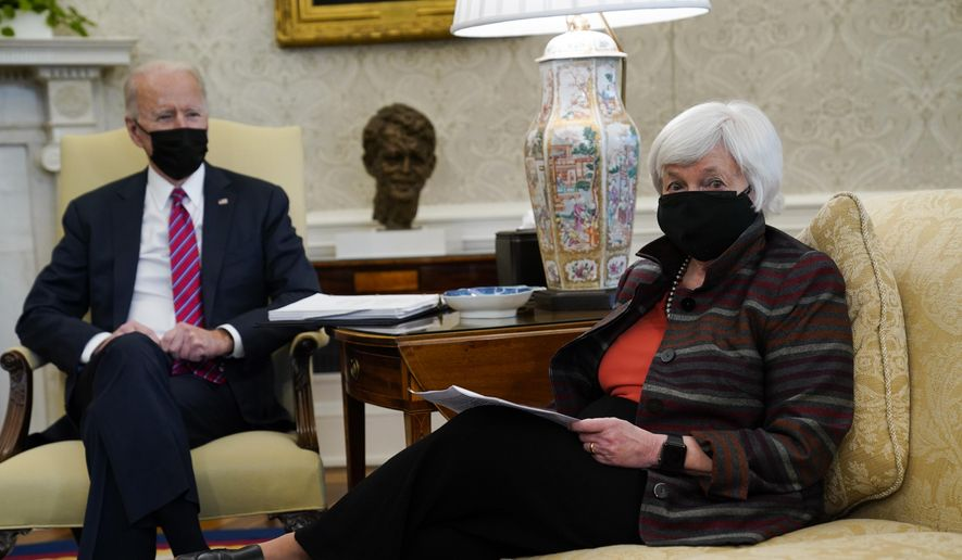 In this Jan. 29, 2021, file photo, President Joe Biden meets with Treasury Secretary Janet Yellen in the Oval Office of the White House in Washington. (AP Photo/Evan Vucci, File)