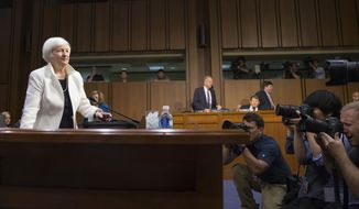 FILE - In this June 21, 2016, file photo, Federal Reserve Chairman Janet Yellen arrives on Capitol Hill in Washington to testify before the Senate Banking Committee. (AP Photo/Evan Vucci, File)