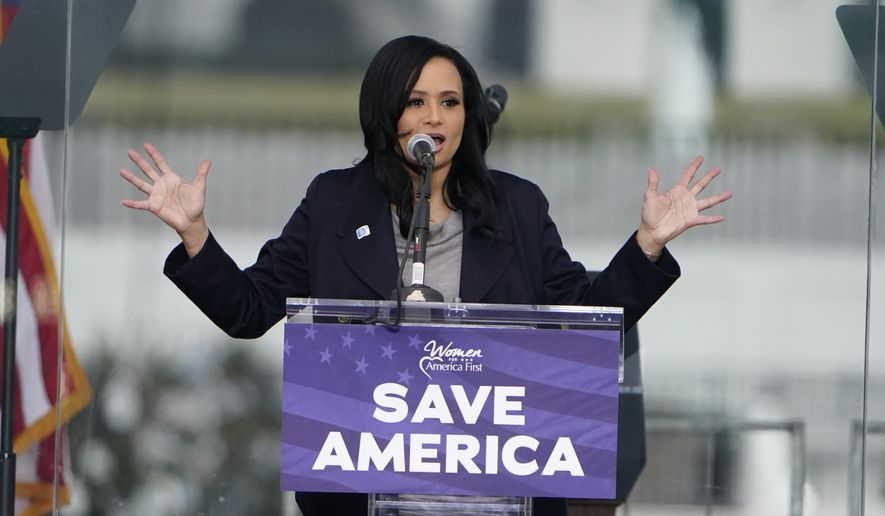 """Katrina Pierson, Senior Advisor to Donald J. Trump for President,speaks Wednesday, Jan. 6, 2021, in Washington, at a rally in support of President Donald Trump called the """"Save America Rally."""" (AP Photo/Jacquelyn Martin)"""