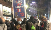 """Protesters called on NBC to apologize for a """"Saturday Night Live"""" joke criticized as anti-Semitic at a Feb. 27, 2021 rally across from NBC Studios in New York City. (Photo courtesy End Jew Hatred)"""