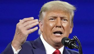 Former President Donald Trump speaks at the Conservative Political Action Conference (CPAC) Sunday, Feb. 28, 2021, in Orlando, Fla. (AP Photo/John Raoux) **FILE**