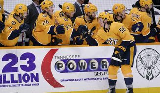 Nashville Predators left wing Erik Haula (56) celebrates after scoring a goal against the Columbus Blue Jackets in the third period of an NHL hockey game Sunday, Feb. 28, 2021, in Nashville, Tenn. (AP Photo/Mark Humphrey)