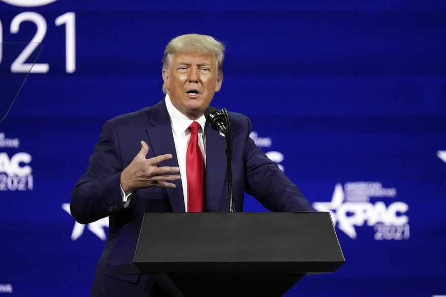 In this file photo, former president Donald Trump speaks at the Conservative Political Action Conference (CPAC) Sunday, Feb. 28, 2021, in Orlando, Fla. (AP Photo/John Raoux)  **FILE**