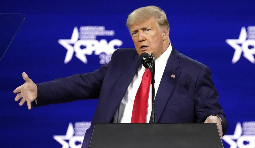 Former President Donald Trump speaks at the Conservative Political Action Conference (CPAC) Sunday, Feb. 28, 2021, in Orlando, Fla. (AP Photo/John Raoux) ** FILE **