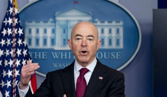 Homeland Security Secretary Alejandro Mayorkas speaks during a press briefing at the White House, Monday, March 1, 2021, in Washington. (AP Photo/Andrew Harnik)  **FILE**
