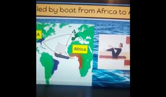 The Caesar Rodney School District in Delaware is investigating after a kindergarten teacher integrated yoga poses into a virtual history lesson about American slavery. (Screenshot via Delaware News Journal/Facebook)