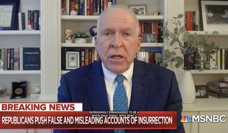 "Former CIA Director John Brennan says he is ""increasingly embarrassed to be a white male,"" March 1, 2021 during an interview with MSNBC's Nicolle Wallace. (Image: MSNBC video screenshot)"