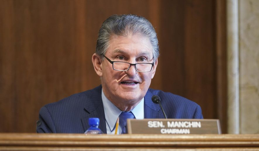 Sen. Joe Manchin, D-W.Va., speaks during a Senate Committee on Energy and Natural Resources hearing on the nomination of Rep. Debra Haaland, D-N.M., to be Secretary of the Interior on Capitol Hill in Washington, Wednesday, Feb. 24, 2021. (Leigh Vogel/Pool via AP) **FILE**
