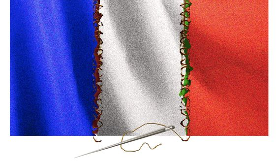 Illustration on efforts to maintain french unity by Alexander Hunter/The Washington Times