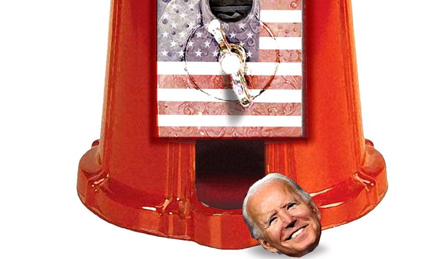 Illustration on COVID's contribution to the Biden election by Alexander Hunter/The Washington Times