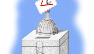 Illustration on Washington's proposed interference with U.S. elections by Alexander Hunter/The Washington Times