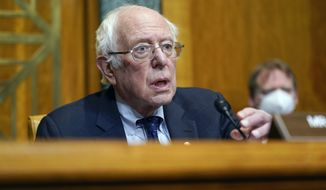 Sen. Bernie Sanders, I-Vt., Chairman of the Senate Budget Committee, speaks during a hearing to examine the nomination of Shalanda Young to be Deputy Director of the Office of Management and Budget on Capitol Hill in Washington, Tuesday, March 2, 2021. (AP Photo/Patrick Semansky)  **FILE**