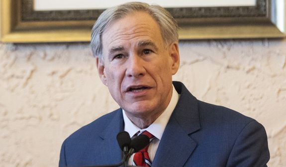Texas Governor Greg Abbott delivers an announcement in Montelongo's Mexican Restaurant on Tuesday, March 2, 2021, in Lubbock, Texas, in this file photo. (AP Photo/Justin Rex)  **FILE**