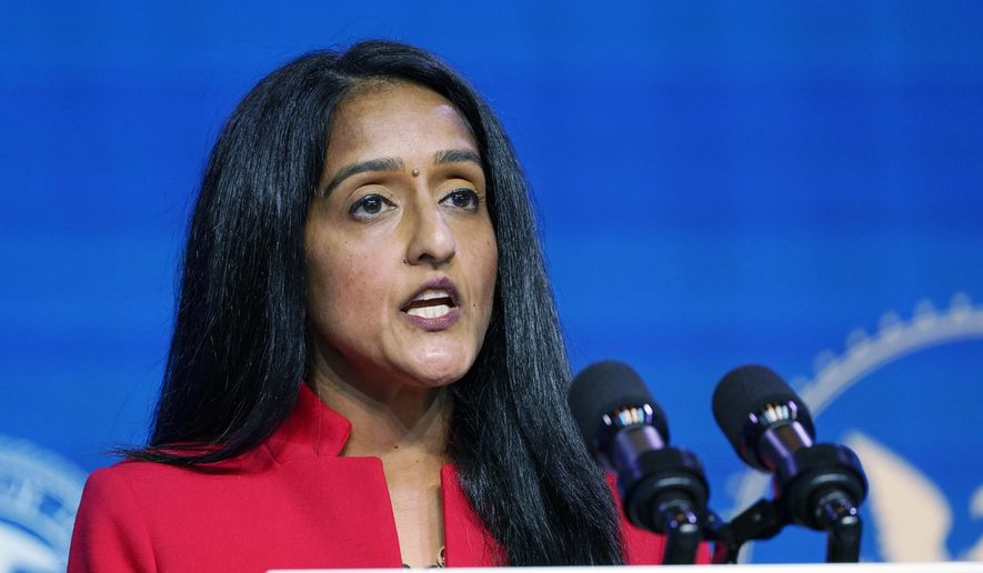 In this Jan. 7, 2021, file photo, Associate Attorney General nominee Vanita Gupta speaks during an event with President-elect Joe Biden and Vice President-elect Kamala Harris at The Queen theater in Wilmington, Del. More than 75 former U.S. attorneys are throwing their support behind Gupta for associate attorney general and urging congressional leaders to quickly confirm her to the post. Gupta has been nominated for the No. 3 position in the Justice Department. (AP Photo/Susan Walsh) **FILE**