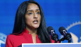 FILE - In this Jan. 7, 2021 file photo, Associate Attorney General nominee Vanita Gupta speaks during an event with President-elect Joe Biden and Vice President-elect Kamala Harris at The Queen theater in Wilmington, Del. More than 75 former U.S. attorneys are throwing their support behind Gupta for associate attorney general and urging congressional leaders to quickly confirm her to the post. Gupta has been nominated for the No. 3 position in the Justice Department. (AP Photo/Susan Walsh)