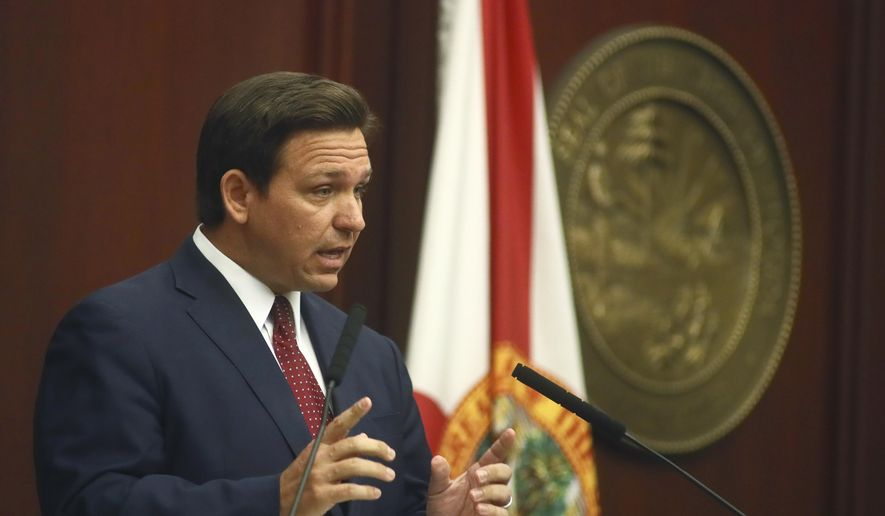 Florida Gov. Ron DeSantis speaks Tuesday, March 2, 2021, during his State of the State address at the Capitol in Tallahassee, Fla. (AP Photo/Phil Sears) ** FILE **