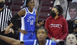Kentucky guard Rhyne Howard (10) talks with South Carolina head coach Dawn Staley during the second half of an NCAA college basketball game Sunday, Feb. 21, 2021, in Columbia, S.C. (AP Photo/Sean Rayford)