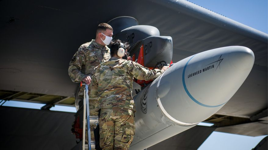 Air Force personnel are shown in this file photo preparing for an air-launched test of the booster for the new AGM-183A Air-Launched Rapid Response Weapon, or ARRW. (U.S. Air Force/File)  **FILE**