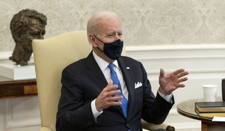 President Joe Biden speaks during a wldmeeting about cancer in the Oval Office of the White House, Wednesday, March 3, 2021, in Washington. (AP Photo/Alex Brandon)