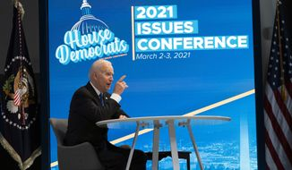 President Joe Biden speaks during a virtual meeting with the House Democratic caucus in the South Court Auditorium of the Eisenhower Executive Office Building, on the White House complex, Wednesday, March 3, 2021, in Washington. (AP Photo/Alex Brandon)