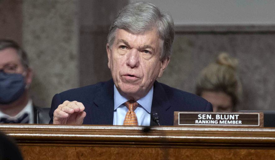 Sen. Roy Blunt, R-Mo., speaks during a Senate Committee on Homeland Security and Governmental Affairs and Senate Committee on Rules and Administration joint hearing examining the January 6, attack on the U.S. Capitol, Wednesday, March 3, 2021,  in Washington. (Shawn Thew/Pool via /AP)